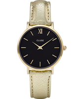 CL30037 Minuit Ladies watch on gold metallic leather strap