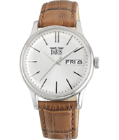 davis2090 Gregory 39mm Silver & brown quartz watch with day-date