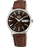 davis2091 Gregory 39mm Silver & brown quartz watch with day-date