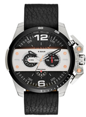 Ironside - Biker 55mm Steel men's chronograph with black leather strap