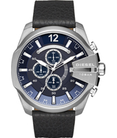 DZ4423 Mega Chief 52mm Blue & steel XL chrono with date, black strap