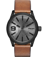 Rasp 46mm Black watch with brown strap