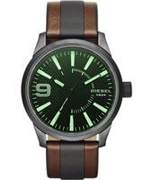 DZ1765 Rasp 46mm Gunmetal & green leather fashion watch