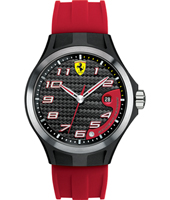 Lap Time  Black Watch with Date on Red Silicone Strap
