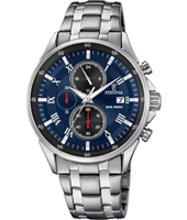 F6853/2  44mm Silver & blue gents chrono watch with date