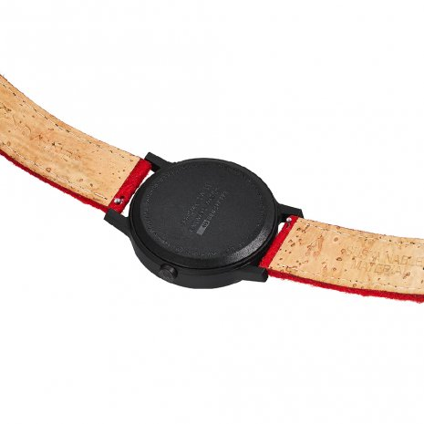 Eco-friendly watch with red cork-textile strap and extra grey strap Collezione Autunno / Inverno Mondaine